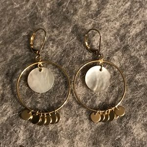 Gold-tone and Shell Earrings